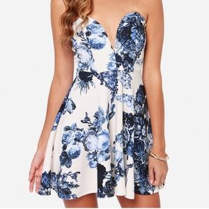 Lulus Strapless Blue and Ivory Floral Dress